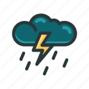 cloud, dark, raining, thunder, weather icon