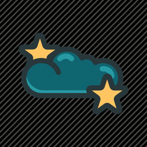 climate, cloud, dark, stars, weather icon