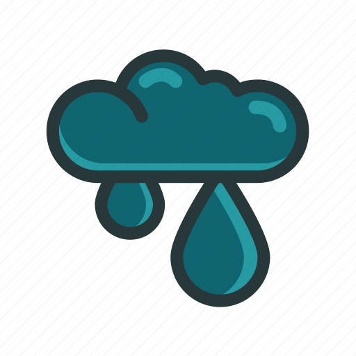 climate, cloud, dark, water drops, weather icon