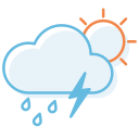 day, ranny, thunderstorm icon
