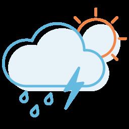 day, ranny, thunderstorm icon