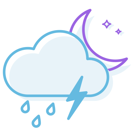 night, ranny, thunderstorm icon