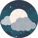cloud, cloudy, forecast, moon, night, sky, weather icon