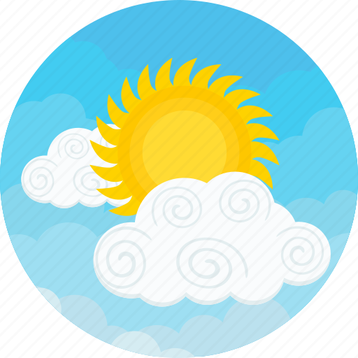 cloudy, forecast, sky, summer, sun, sunny, weather icon