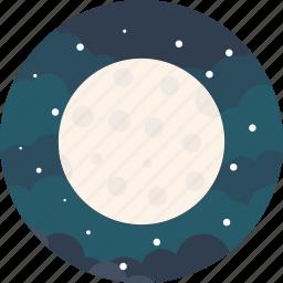 forecast, full, light, lightning, moon, night, stars icon