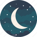 half, moon, crescent, night, sky, stars, weather