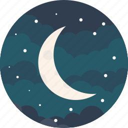 crescent, half, moon, night, sky, stars, weather icon