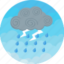 cloudy, forecast, heavy, lightning, rain, storm, weather icon