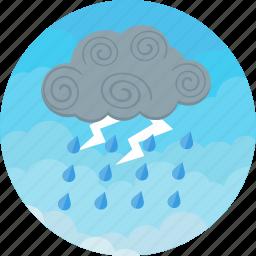 cloudy, forecast, heavy, lightning, rain, storm, weather icon
