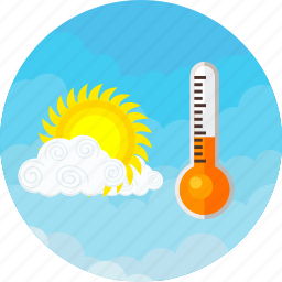 cloudy, medium, sunny, temperature, thermometer, weather icon
