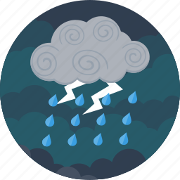 clouds, forecast, lightning, night, rain, raining, weather icon