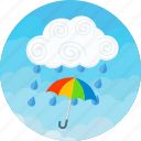 clouds, forecast, rain, raining, storm, umbrella, weather icon