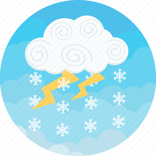 clouds, cloudy, lightning, rain and snow, snow, weather, winter icon
