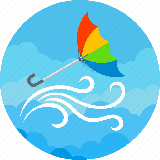 clouds, forecast, storm, strong, umbrella, weather, wind icon