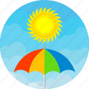 cloud, colours, day, rain, sunny, umbrella, weather icon
