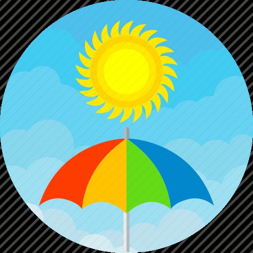 cloud, colours, day, rain, sunny, umbrella, weather icon