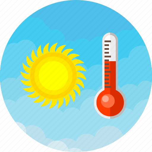 forecast, high, hot, sun, temperature, thermometer, weather icon