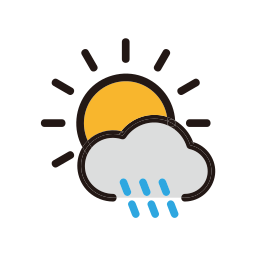 clouds, cloudy, rain, sunny, weather icon