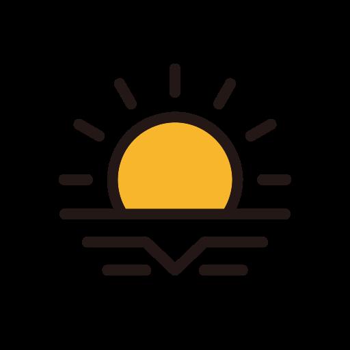 evening, sun, sunset, weather icon
