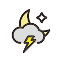 night, rain, storm, weather icon