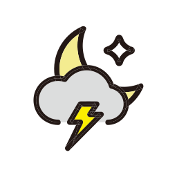 night, rain, storm, weather icon