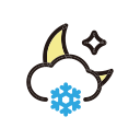 moon, night, snow, weather icon