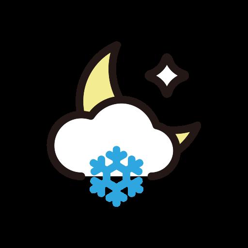 moon, night, snow, weather icon