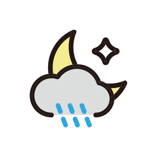 clouds, moon, night, rain, storm, weather icon