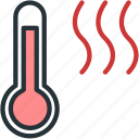 hot, temperature, thermometer, weather icon