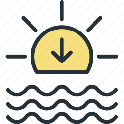 down, set, sun, weather icon