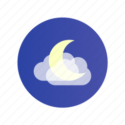 cloud, cloudy, color, moon, night icon