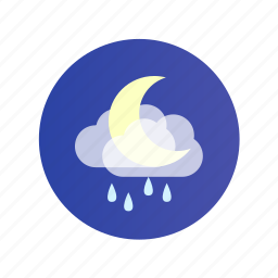 cloud, moon, night, rain, rainy icon