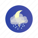 cloud, moon, night, rain, storm, stormy icon