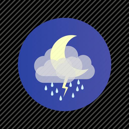cloud, moon, night, rain, storm, stormy icon