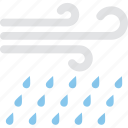 atmosphere, forecast, heavy rain, rainstorm, windy rain icon