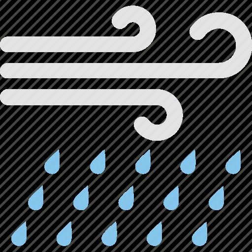 atmosphere, forecast, heavy rain, rainstorm, windy rain icon