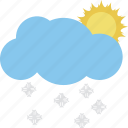 puffy cloud, raining, rainy day, sun with rain, sunrise rain icon