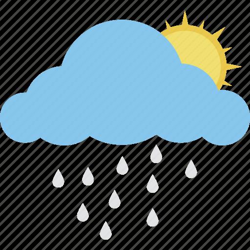 puffy cloud, raining, rainy day, sun with rain, sunrise rain icon