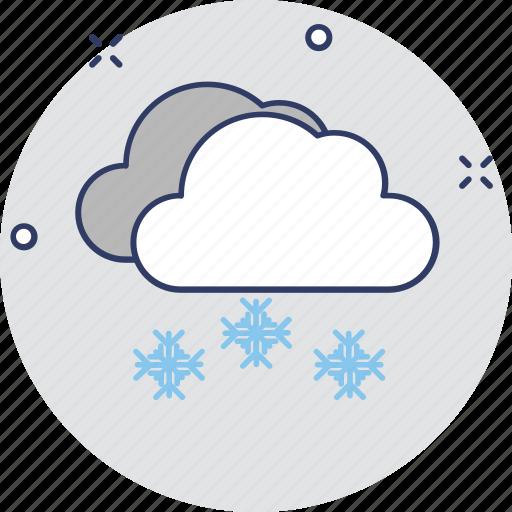 cold weather, snow cloud, snow falling, snowflake cloud, winter season icon