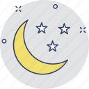 crescent, environment, moon and stars, nature, night icon