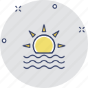 hot day, morning, sunbeam, sunlight, sunset icon