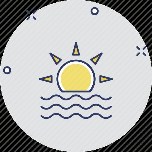 hot day, morning, sunbeam, sunlight, sunset icon