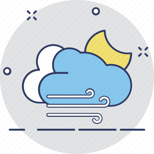 cloudy night, forecast, night moon, night weather, weather icon