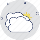 hot day, hot weather, morning, pleasant day, sun clouds icon