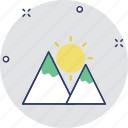 hills, hilly area, mountain range, mountains, valley icon