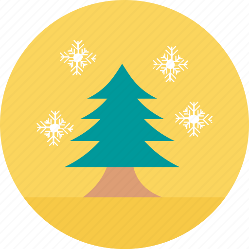 christmas decoration, forest, tree with snowflakes, weather forecast, weather theme icon