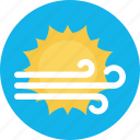 climate, hot wind, sunny wind, wind, wind storm icon