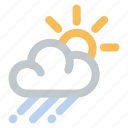 cloud, rain, shower, sky, sun, weather icon