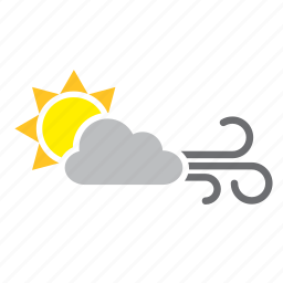 cloud, meteorology, sun, weather, wind icon
