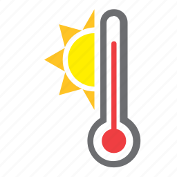 hot, mercury, summer, sun, temperature, thermometer, weather icon